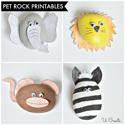 Rock painted zoo animals