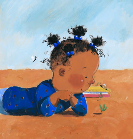 Illustratin of a happy little girl looking at a seed growing