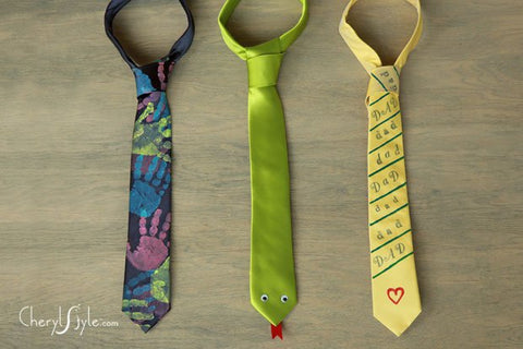 image of three hand painted ties