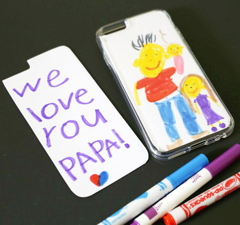 Image of a kids drawing on a phone case