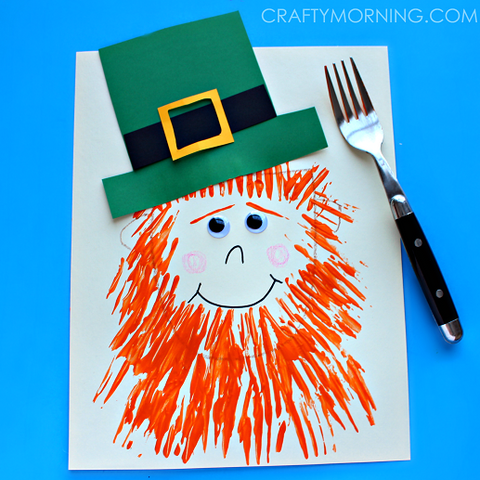 Leprechaun made with paint and fork