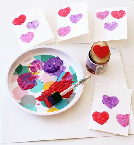 Potato stamping Valentine's card