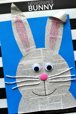 Easter bunny made with newspaper