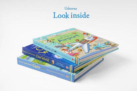 Usborne look inside books, cars, ariplane and our world