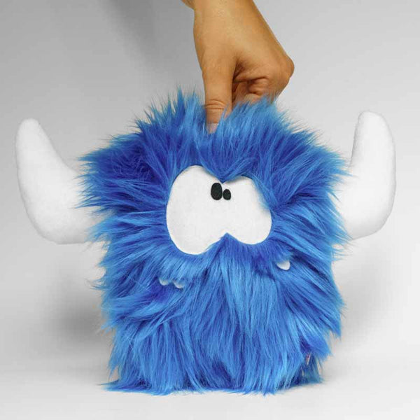 Stuffed monster - Blue plush monster with hornes