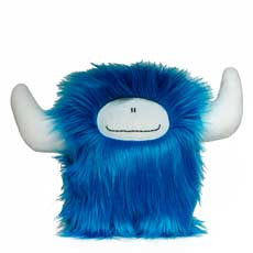 Stuffed monster - Blue happy plush monster with hornes