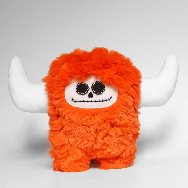 Day of the dead orange plush monster, front view