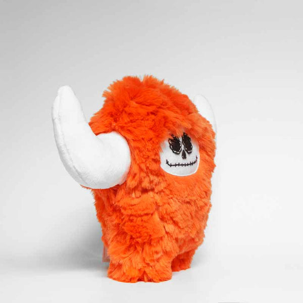 Day of the dead orange plush monster, profil view