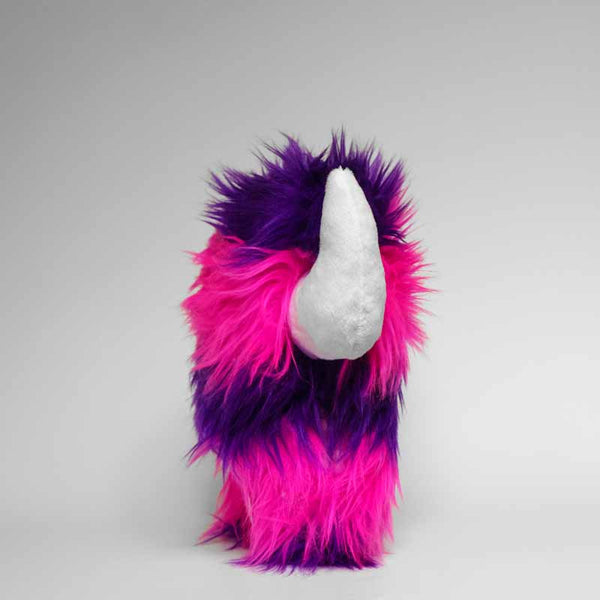 Stuffed monster - Stripy plush monster in purple and pink