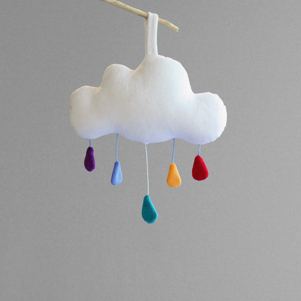 Cloud baby mobile music box by petit loulou shop, front view with drop up