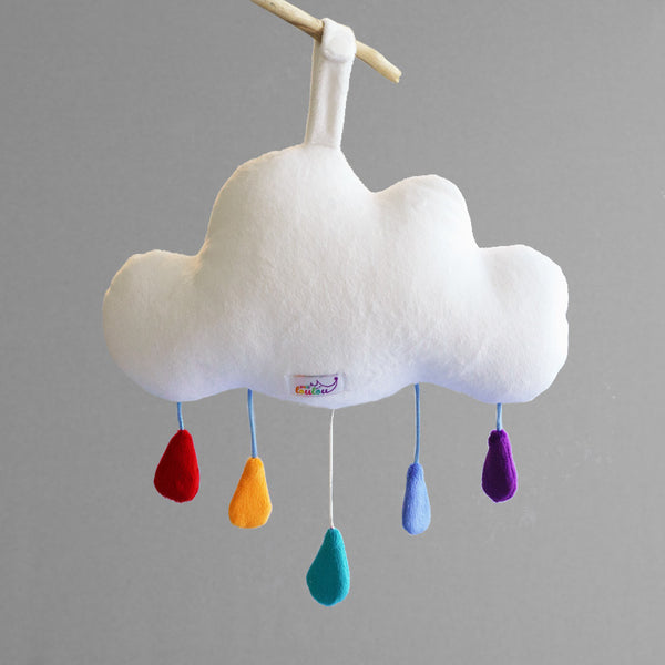 Cloud baby mobile music box by petit loulou shop, back view with label and snaps