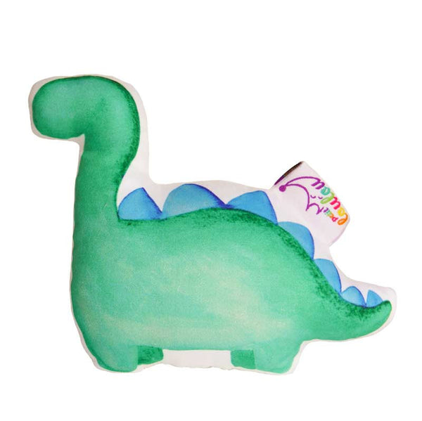 handmade baby rattle with a green dinosaur, back view