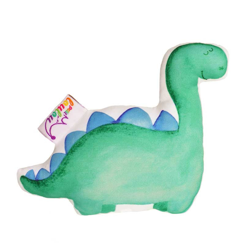 handmade baby rattle with a green dinosaur, front view