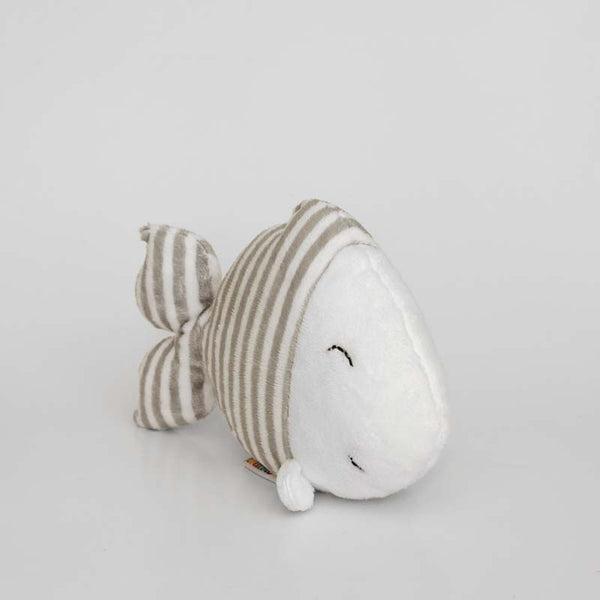 Fish stuffed animal with grey and white stripes, image 02