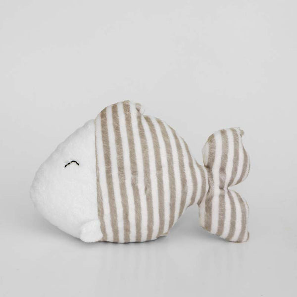 Fish stuffed animal with grey and white stripes, left profile view