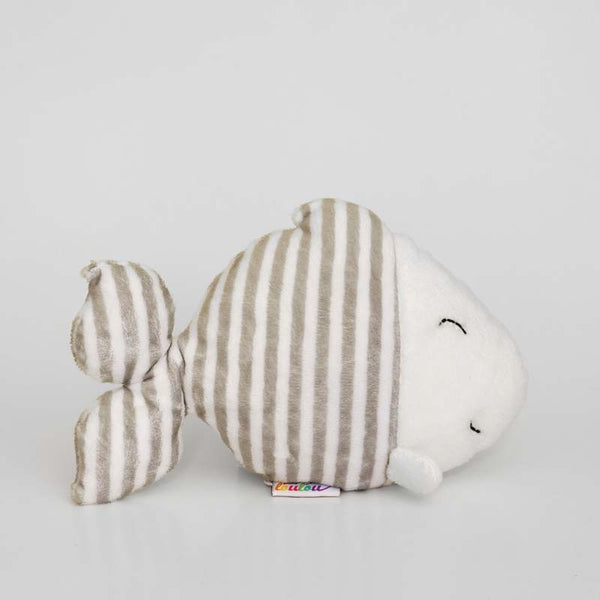 Fish stuffed animal with grey and white stripes, right profile view