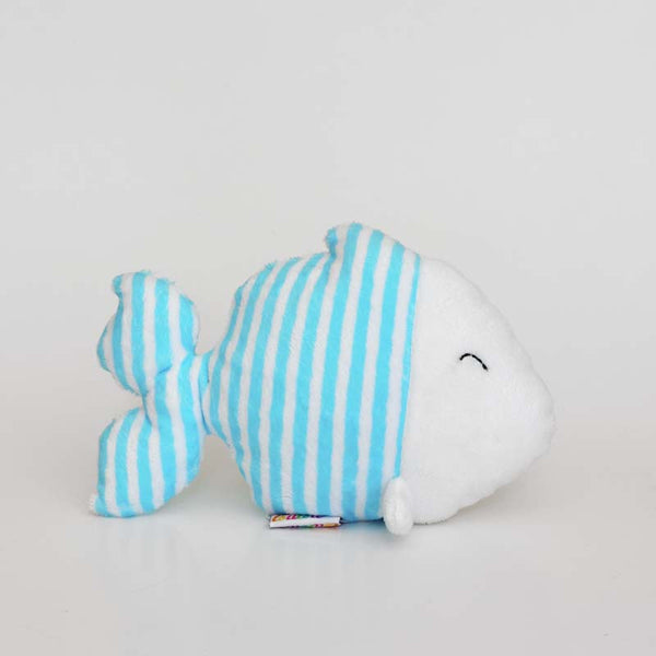 Blue fish plushie with withe and blue stripes