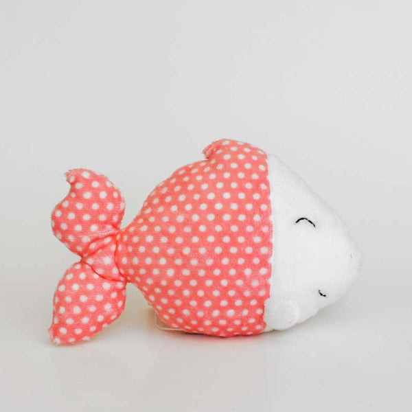 Pink plush fish with mini dots white