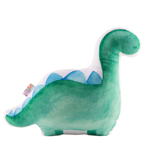 Watercolor painted green stuffed dinosaur