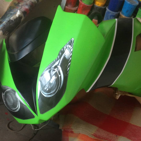 WSBK style headlight decals (stickers) for Kawasaki ZX6R SSP Ninja - TrackbikeDecals.com