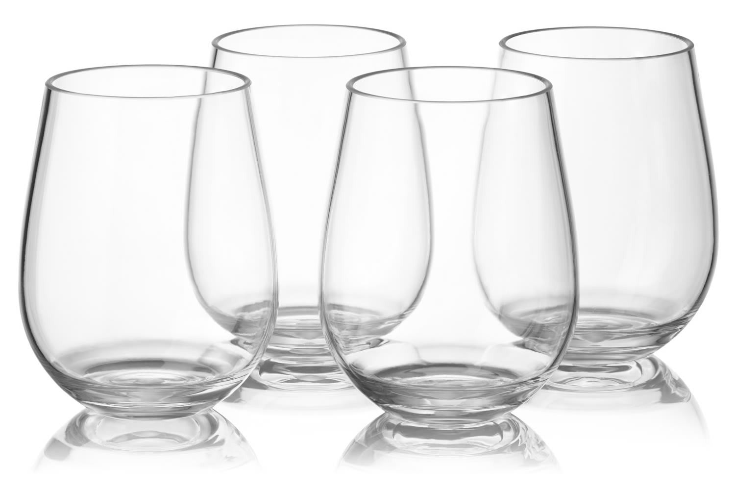24 stemless plastic wine glasses wholesale set