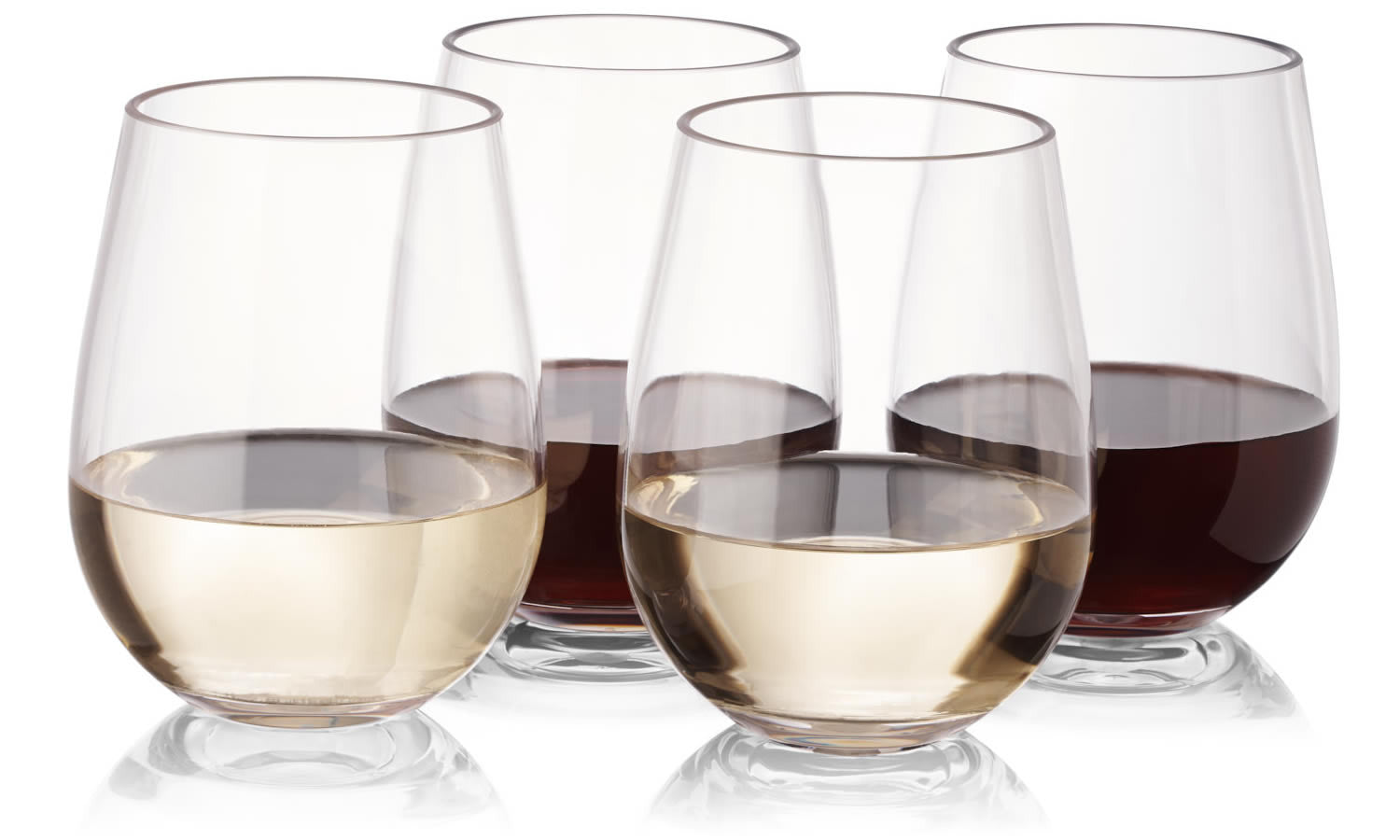 2a5a26de45a Notmog 16 Stemless Wine Glasses Office Set Unbreakable Reusable Plastic  Drinking Glass Tumbler 450Ml 16Oz