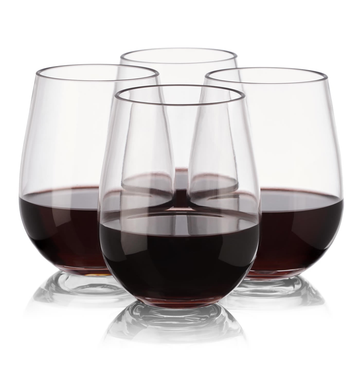 notmog 24 stemless glasses wholesale set unbreakable reusable plastic wine drinking glass outdoor tumbler 450ml 16oz