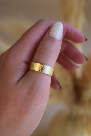Gold Plated Textured band ring