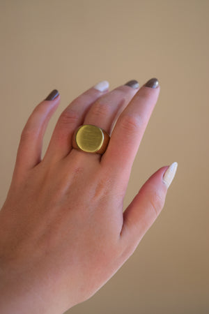 Chunky brushed gold ring
