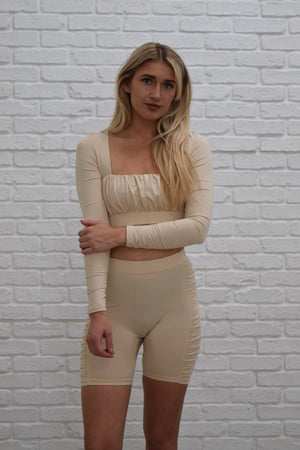 Champagne Roushed Co-ord lounge shorts