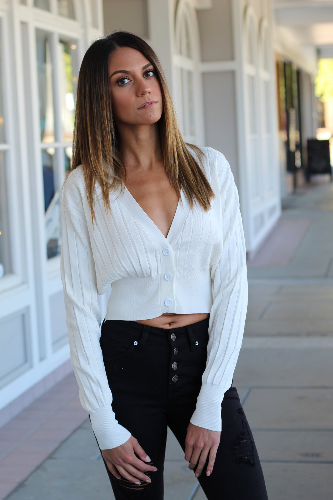 Ribbed Cardigan Top
