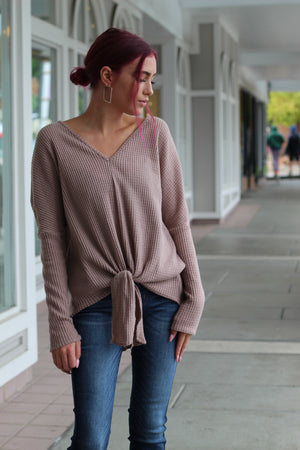 Taupe Knit Tie Top