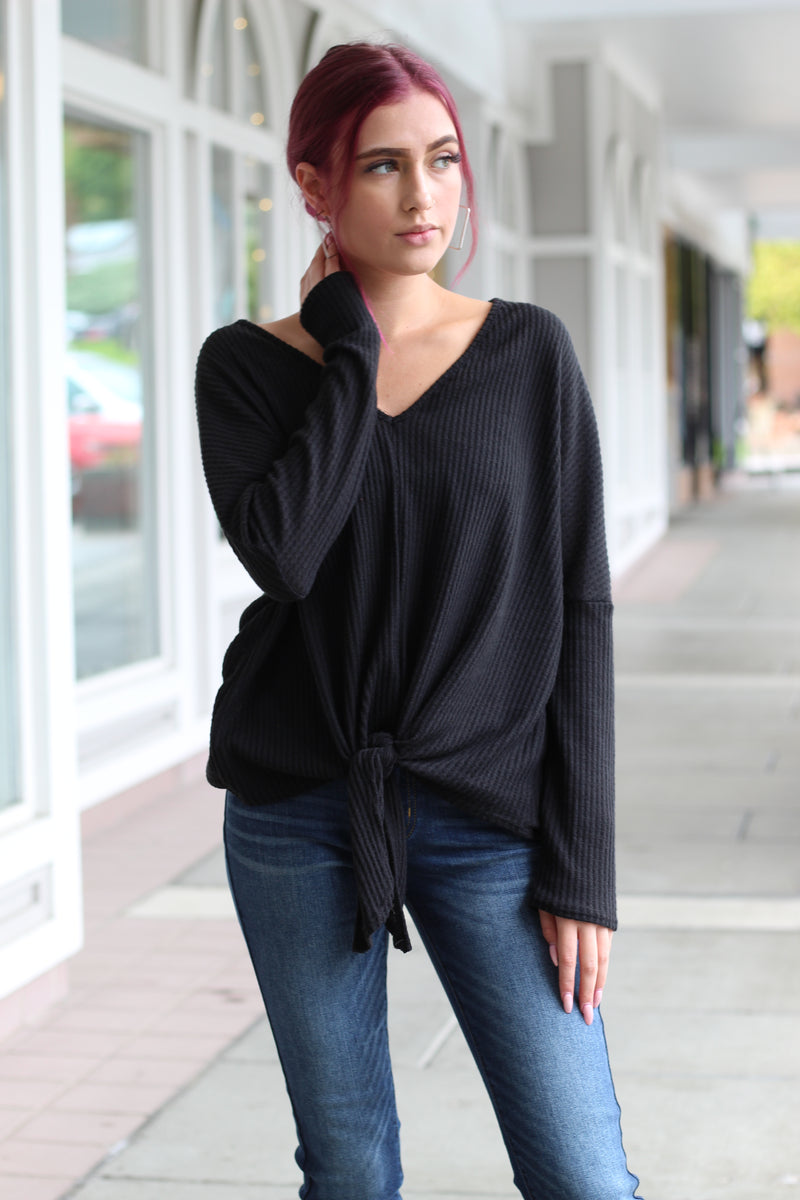 Black Knit Tie Top