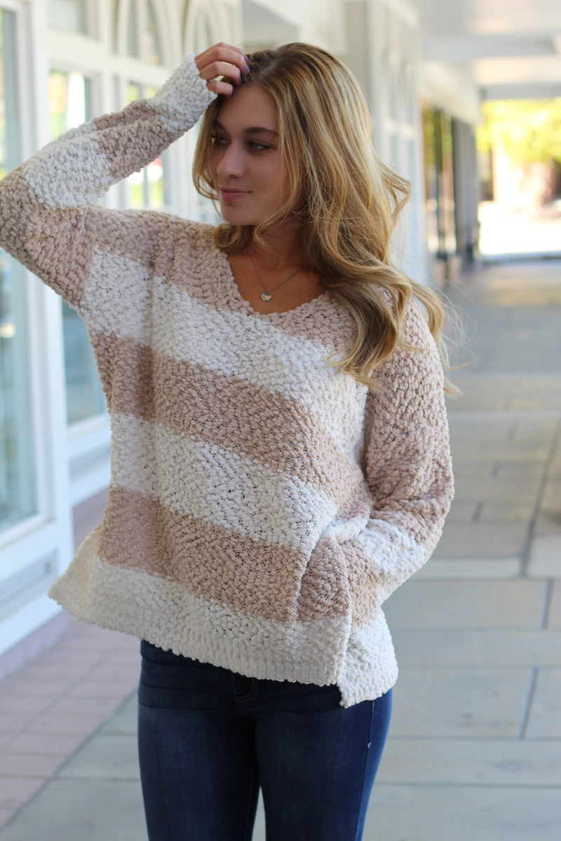 Taupe Striped Popcorn Sweater