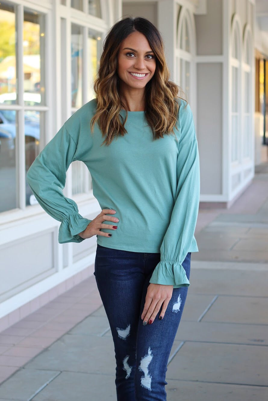 Oli Blue Scrunch Sleeve Top