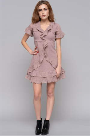 ruffled babydoll mini dress