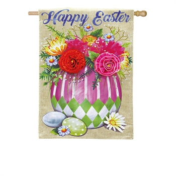 Evergreen - Easter Egg Flower Arrangement House Burlap Flag