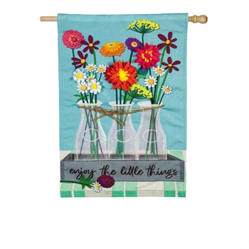 Evergreen - Floral Milk Bottle Trio House Linen Flag