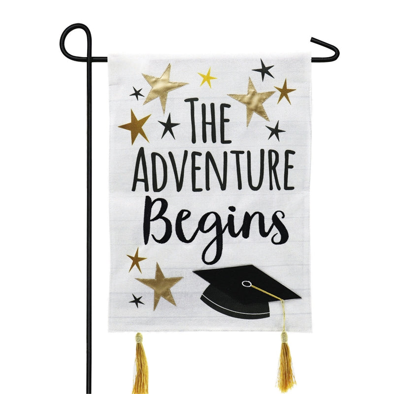 Evergreen - Graduation Adventure Garden Burlap Flag