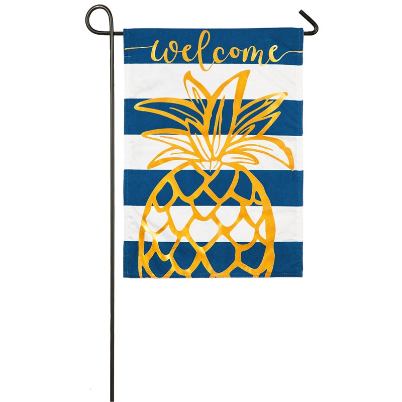 Evergreen - Pineapple Stripe Garden Linen Flag