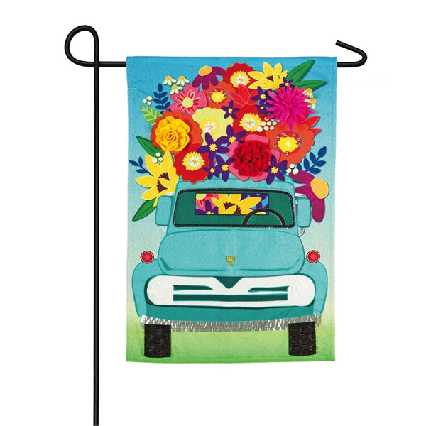 Evergreen - Mint Flower Truck Garden Linen Flag