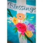 Evergreen - Blessings Floral Cross House Linen Flag