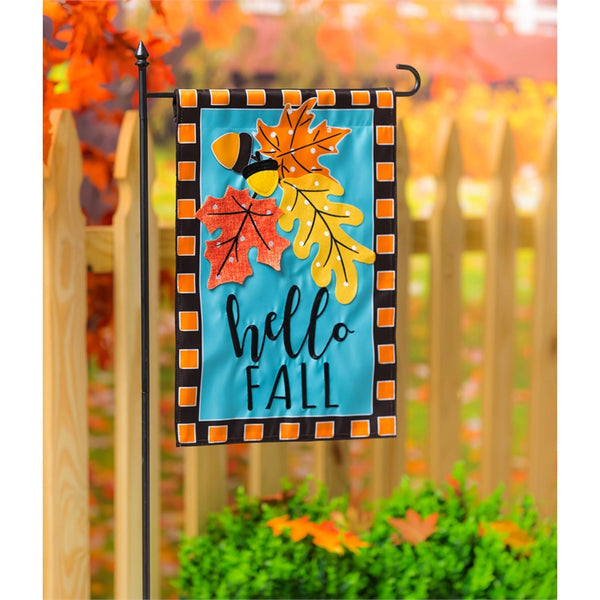 Evergreen - Hello Fall Leaves Garden Applique Flag