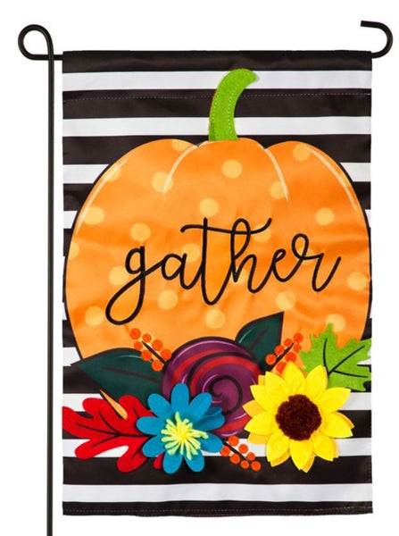 Evergreen - Striped Gather Pumpkin Garden Applique Flag