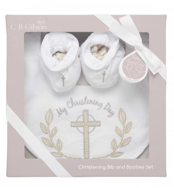 CR Gibson - My Christening Day-Bib and Booties - Debbie's Hallmark
