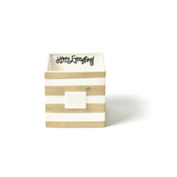 Happy Everything - Neutral Stripe Mini Nesting Cube Medium