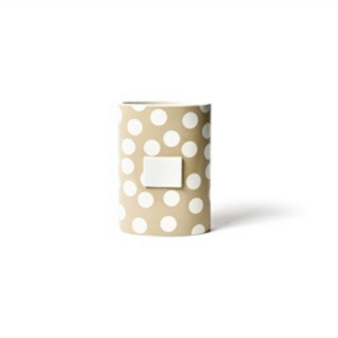 Happy Everything - Neutral Dot Mini Oval Vase