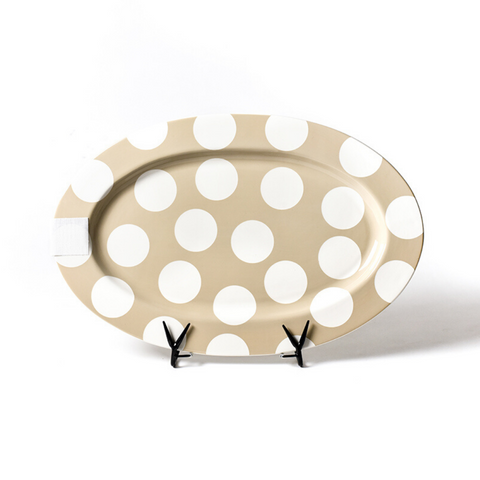 Happy Everything - Neutral Dot Big Entertaining Oval Platter