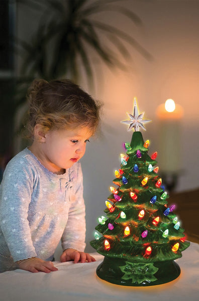 "Opportunities-16"" Green Ceramic Light Up Christmas Tree"