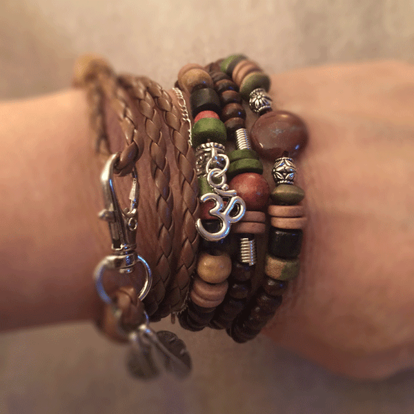 Leather & Wood Bead Jewelry